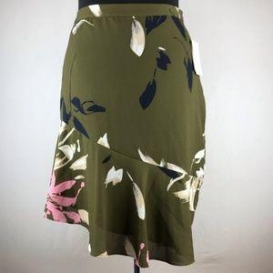 Halston Olive Floral Asymmetrical Skirt